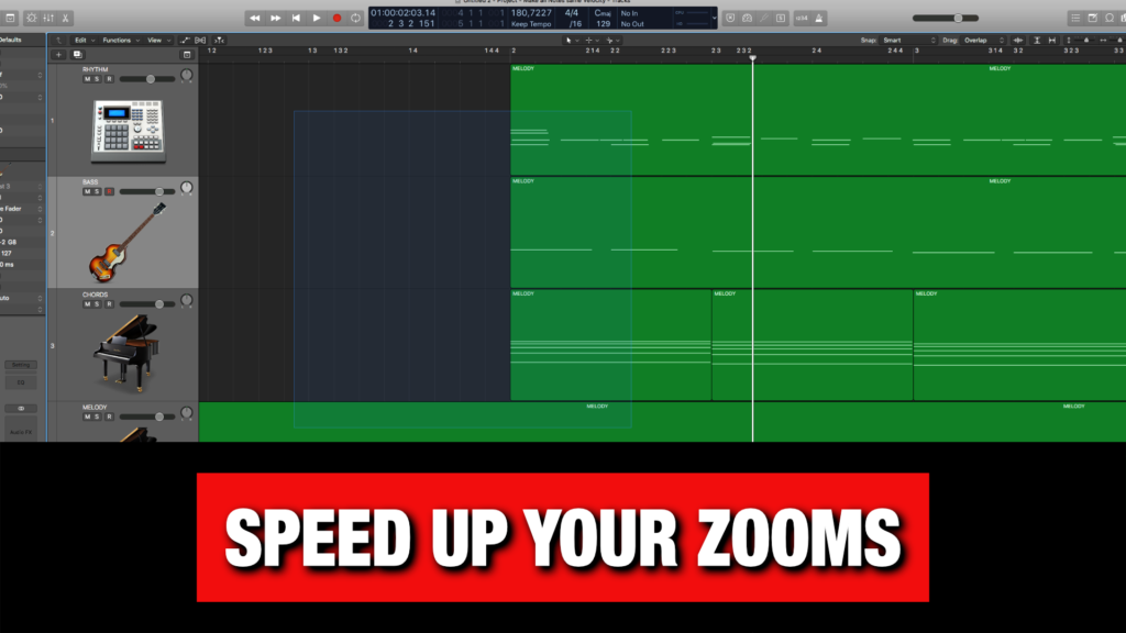 Zoom Super Fast in Logic Pro X