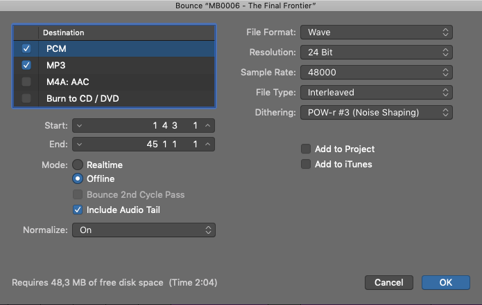 Bounce Track in Logic Pro X