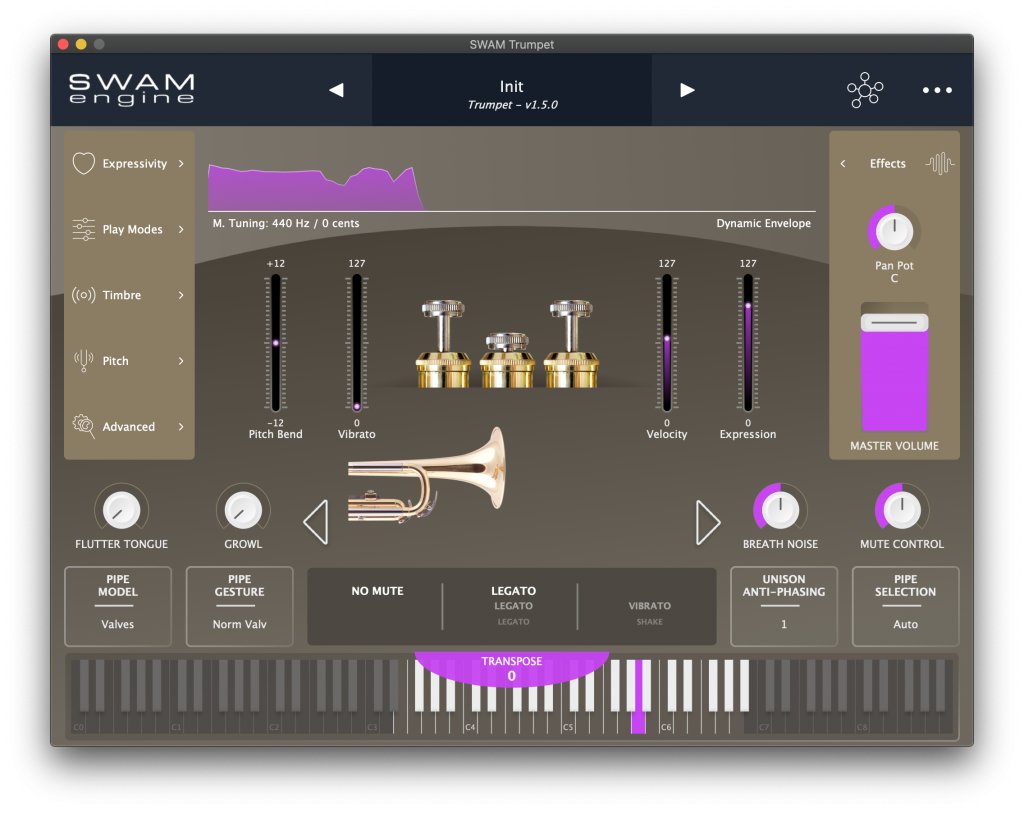 SWAM Solo Brass user interface
