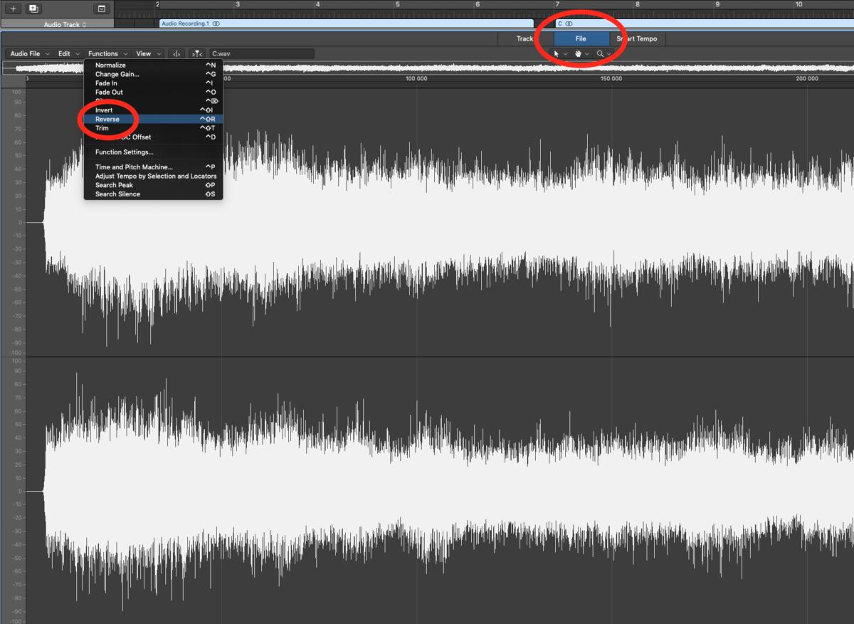 Logic Pro - Reverse Audio File