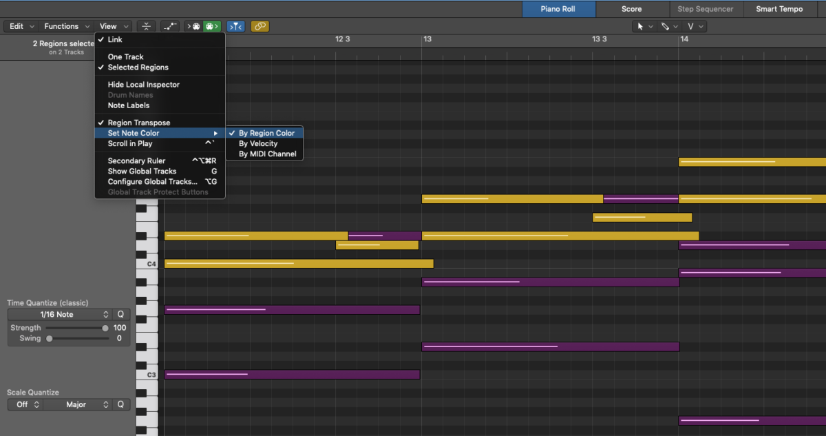 Note Color by Region Color in Logic Pro Piano Roll